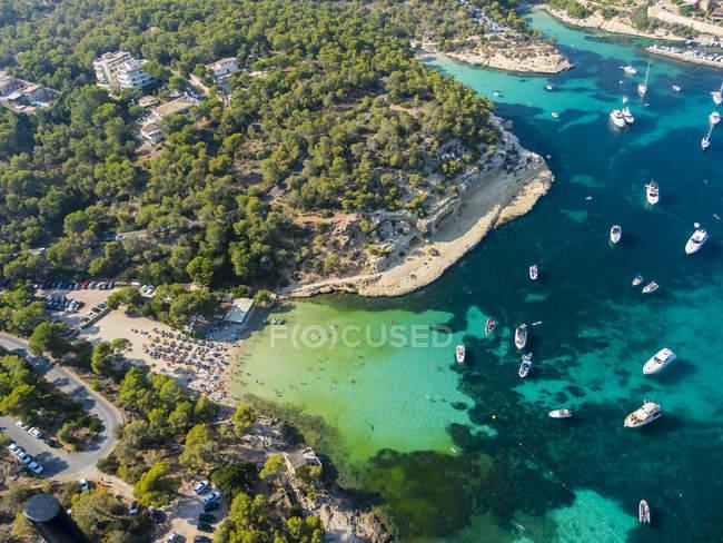 Spagna, Maiorca, Palma di Maiorca, veduta aerea della costa vicino a Portals Vells — Foto stock