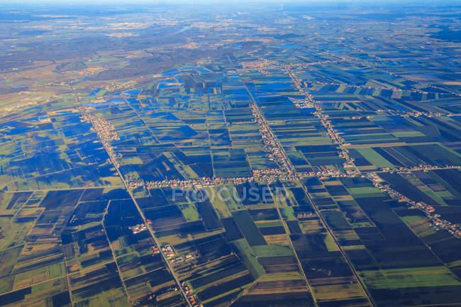 Alemanha, Bavaria, Donaumoos, Koenigsmoos, vista aérea de uma paisagem pantanosa inundada — Fotografia de Stock
