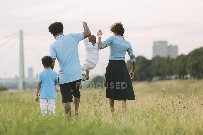 Happy african american family of four in a field — Stock Photo
