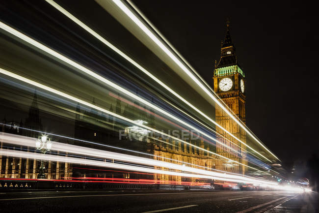UK, London, view to lighted Big Ben by night — Stock Photo