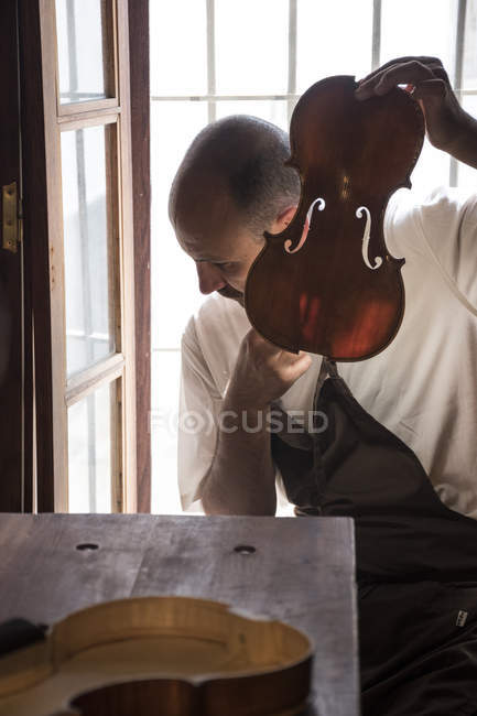 Luthier tuning the top plate of a violin in his workshop — Stock Photo