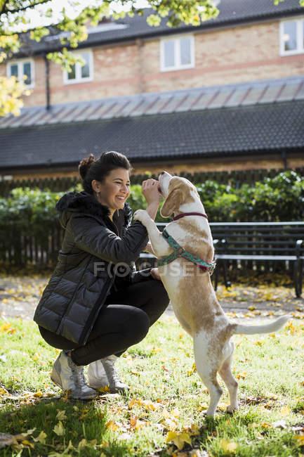 Женщина вознаграждает свою собаку на улице — стоковое фото