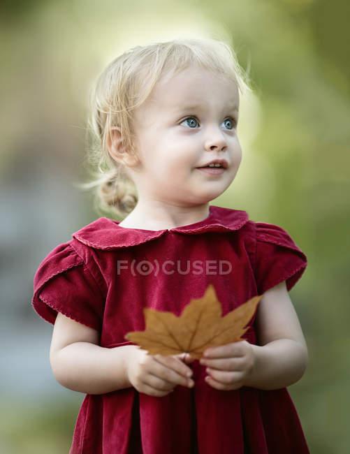 Retrato de menina loira vestindo vestido vermelho segurando folha de outono — Fotografia de Stock