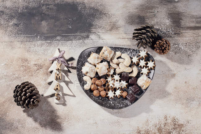 Plate of different Christmas cookies — Stock Photo