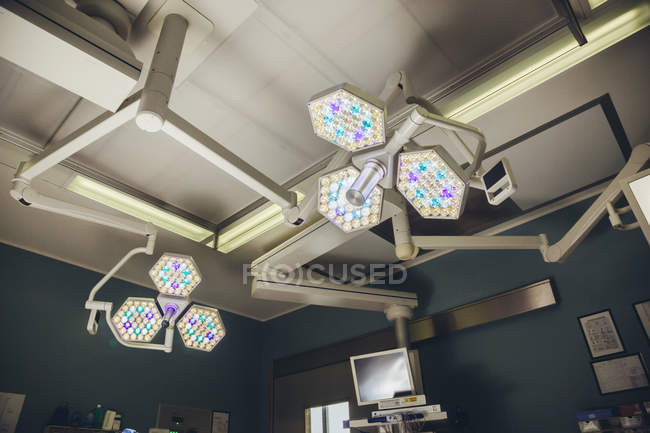 Bright lights above operating room table — Stock Photo