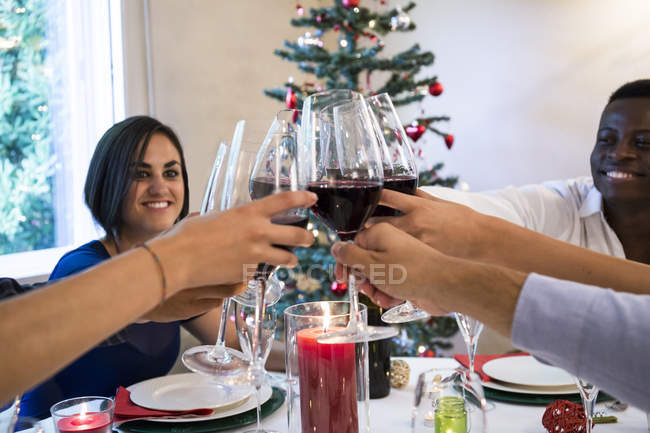 Friends toasting with wine during a Christmas dinner — Stock Photo