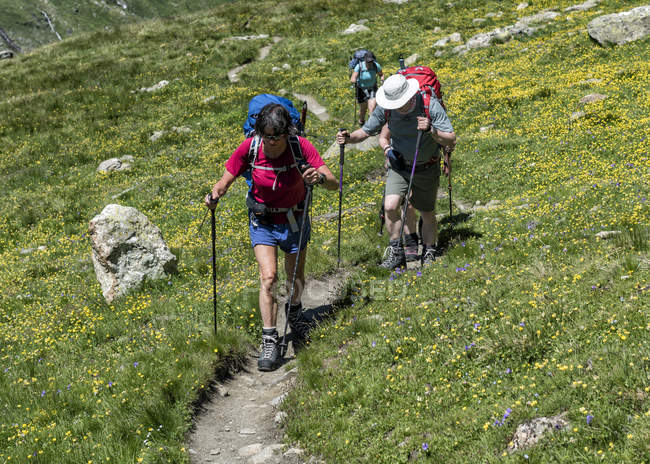 Suíça, Maountaineers caminhadas perto Chanrion cabana — Fotografia de Stock