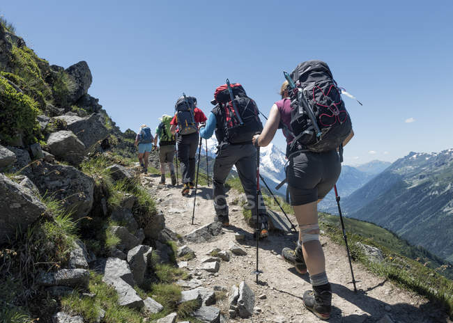 Francia, Chamonix, Alpinisti a Le Tour — Foto stock