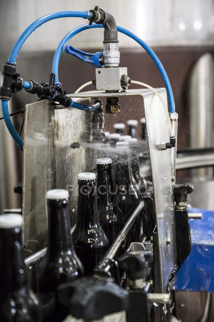 Beer bottles on conveyor belt in bottling plant — Stock Photo