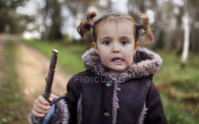 Portrait of little girl with braids in autumn — Stock Photo