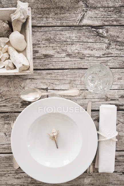 Top view of place setting on maritime laid table — Stock Photo