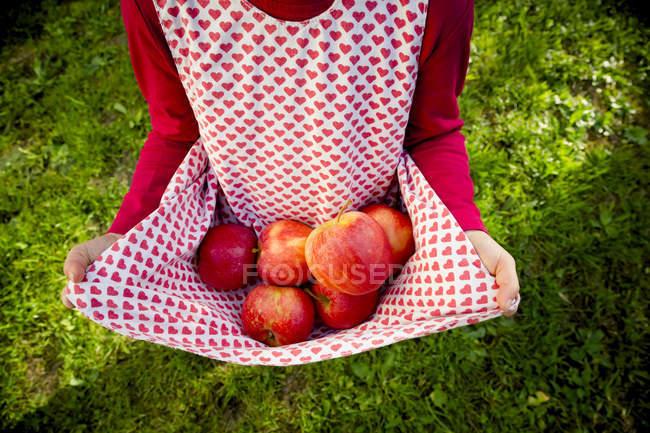 Холдинг яблоки девушка в платье — стоковое фото