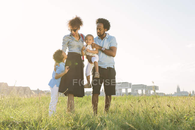Happy african american family of four in field — Stock Photo
