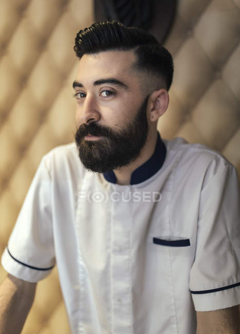 Portrait of bearded barber with full beard — Stock Photo