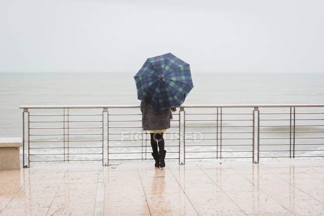 Vista trasera de la mujer con paraguas mirando al mar — Stock Photo