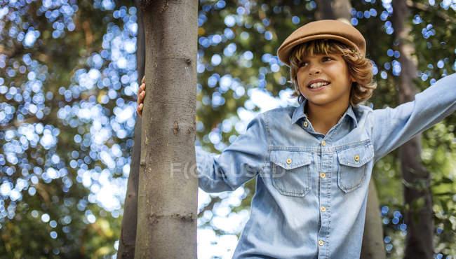Portrait of blond boy wearing cap — Stock Photo