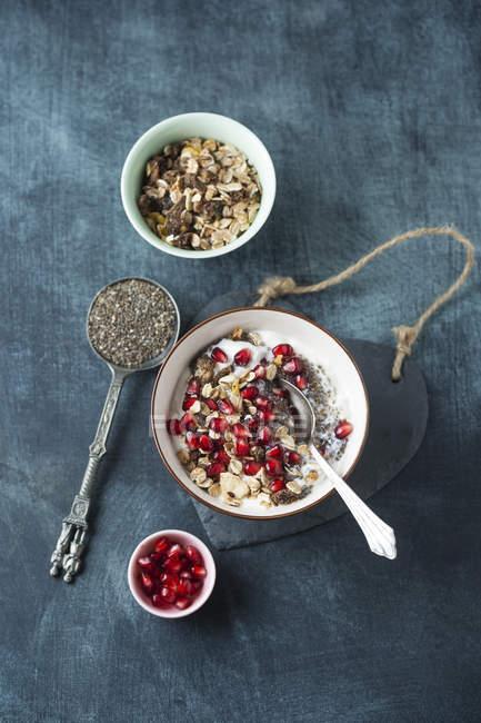 Йогурт з насіння чіа, граната і фрукти мюслі — стокове фото