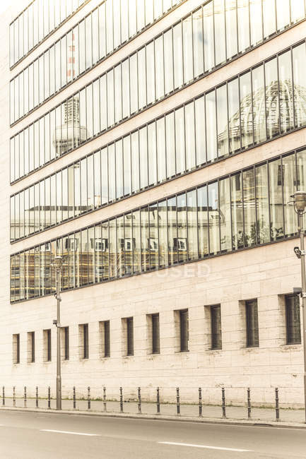 Germany, Berlin, television tower mirrored in glass facade of Federal Foreign Office — Stock Photo