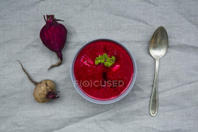 Close up of Bowl of beetroot soup — Stock Photo