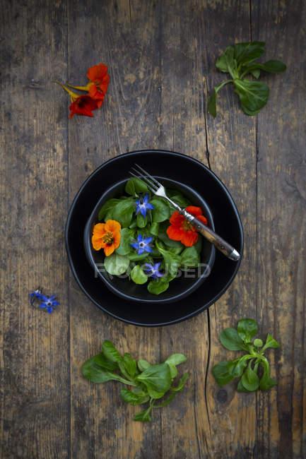 Чаша салата с цветами боража и индийского кресса — стоковое фото