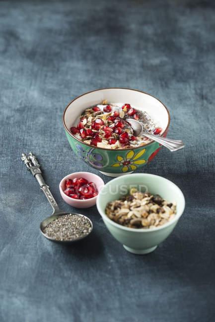 Йогурт з насіння, гранат і фруктів мюслі Чіа — стокове фото