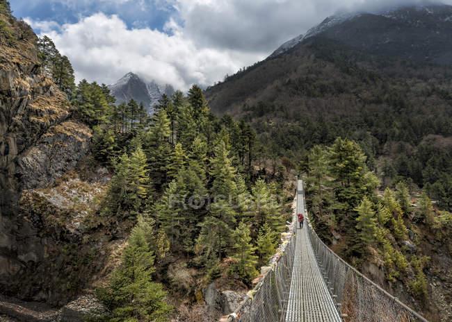 Nepal, Himalaya, Khumbu, regione dell'Everest, Tengboche, persona che cammina sul ponte sospeso — Foto stock