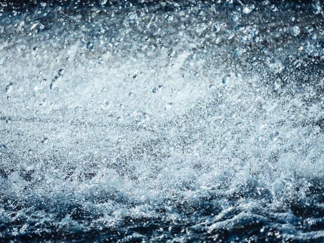Vista de gotas de água e salpicos — Fotografia de Stock