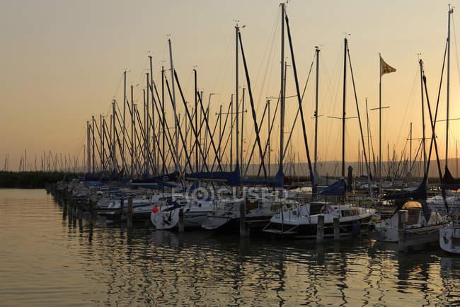 Austria, Burgenland, Breitenbrunn, View of marina, lake neusiedl in the evening — Stock Photo