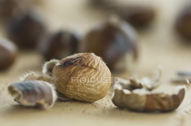Closeup vista de castanhas assadas — Fotografia de Stock
