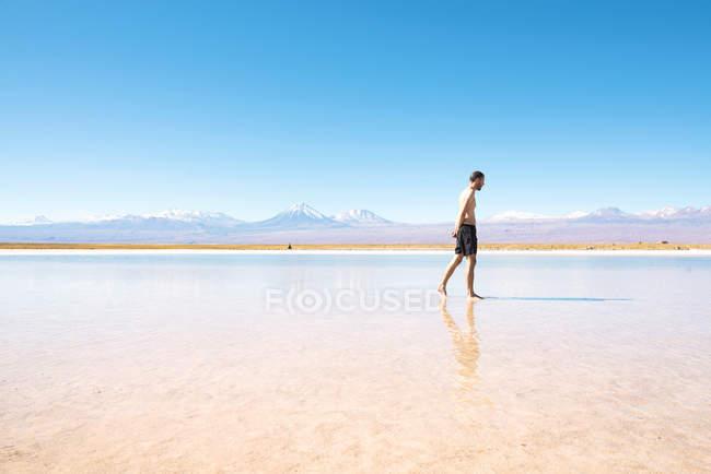 Chile, Atacama-Wüste, Mann zu Fuß in der Laguna Cejar — Stockfoto
