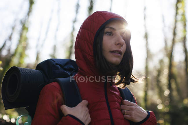 Female hiker walking  in the nature — Stock Photo