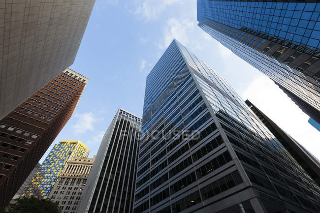 Skyscrapers at Downtown Manhattan early in the morning, New York City, USA — Stock Photo