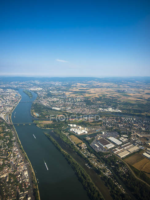 Germany, Mainz, aerial view of cinfluence of River Rhine and Main — Stock Photo