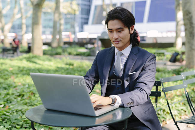 USA, New York City, Manhattan, businessman working with a laptop in Bryant Park — Stock Photo
