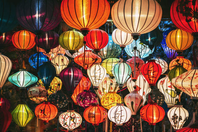 Vietnam, Silk lanterns at night time — Stock Photo