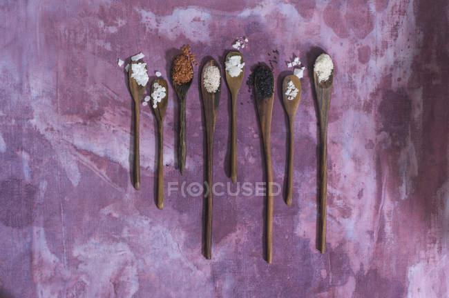 Ряд деревянных ложек с различными солями на ткани — стоковое фото