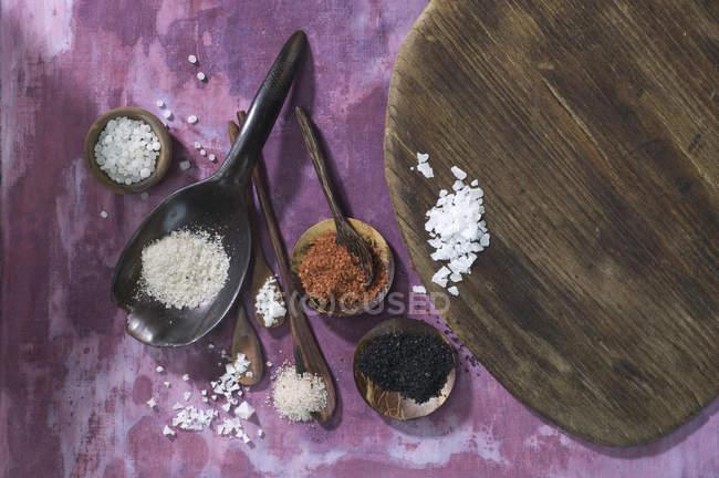 Дерев'яними ложками з різних солі на тканині — стокове фото