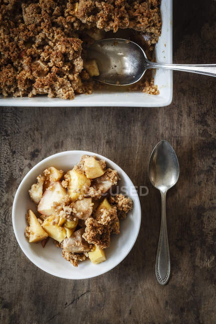 Top view of Crumble with apple, pear and quince — Stock Photo