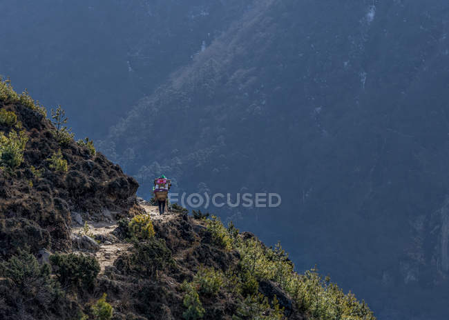 Nepal, Himalaya, Khumbu, trekker on hiking trail — Stock Photo