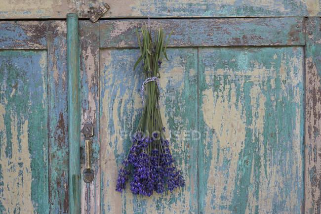 Букет лаванди висить на пошарпаний дерев'яні гардероб — стокове фото