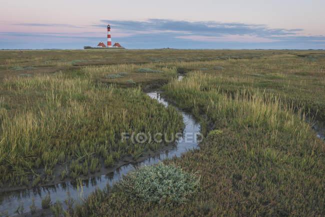 Germany, Schleswig-Holstein, North Sea Coast, View of Westerheversand Lighthouse — Stock Photo