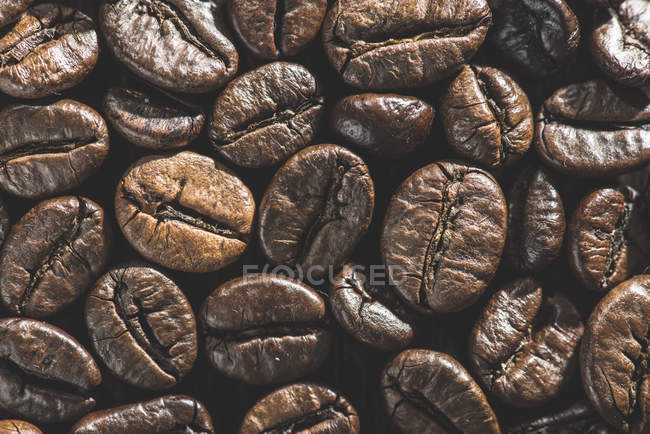 Closeup view of brown dry coffee beans — Stock Photo