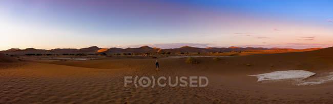 Namibie, Parc National Naukluft, Désert de Namib, Sossusvlei, Dunes de sable à Dead Vlei dans la soirée — Photo de stock