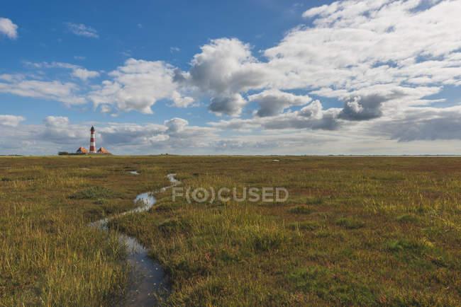 View of Westerheversand Lighthouse, North Sea Coast, Schleswig-Holstein, Germany — Stock Photo