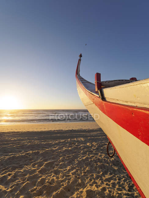 Portugal, Praia de Mira, fishing boat on the beach — Stock Photo
