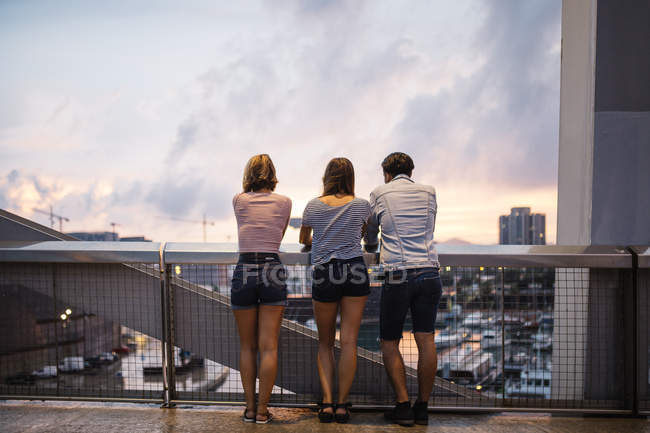Friends looking at view from bridge — Stock Photo