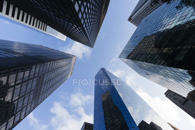 USA, New York City, skyscrapers at Downtown Manhattan early in the morning — Stock Photo