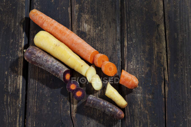 Different sorts of sliced carrots — Stock Photo