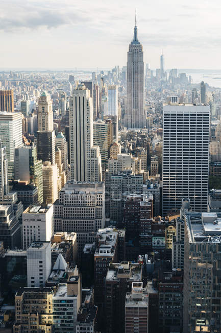 View to Downtown Manhattan from above, New York City, USA — Stock Photo