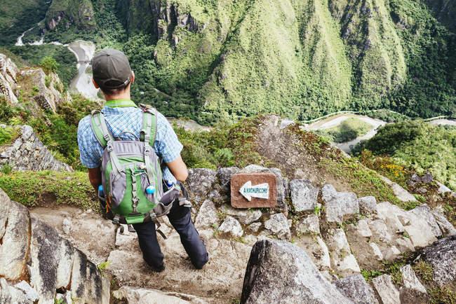 Perù, regione di Machu Picchu, uomo che guarda la cittadella di Machu Picchu — Foto stock